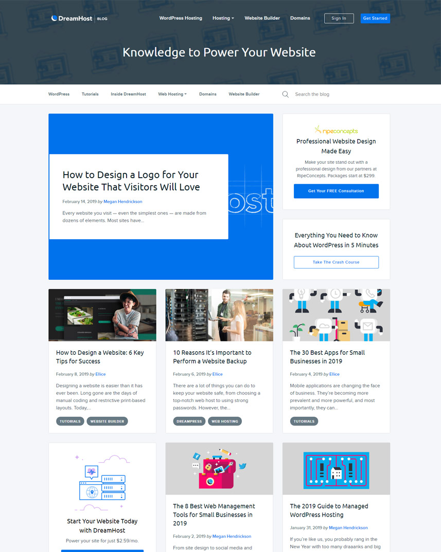 Webredone web design & development - Dreamhost blog wordpress homepage image