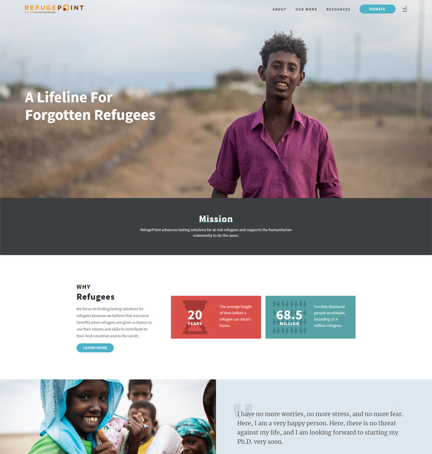 Webredone web design & development - RefugePoint website homepage image
