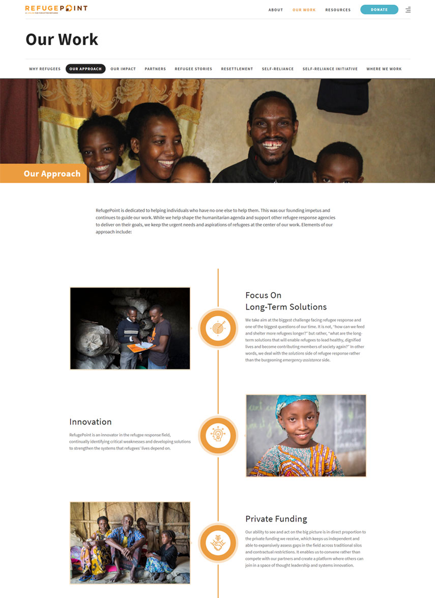 Webredone web design & development - RefugePoint website timeline image