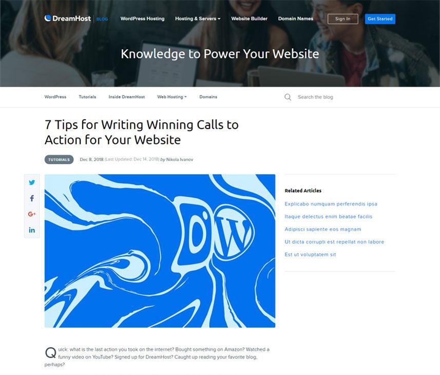 Webredone web design & development - Dreamhost blog wordpress single image