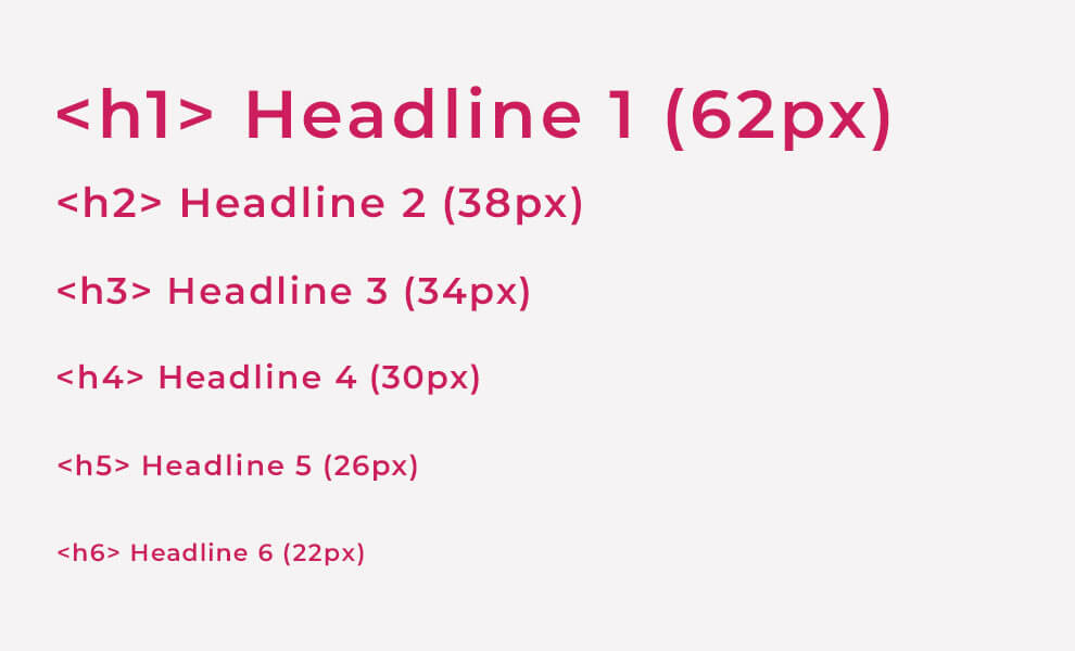 UI Style Guide Typography - Headings